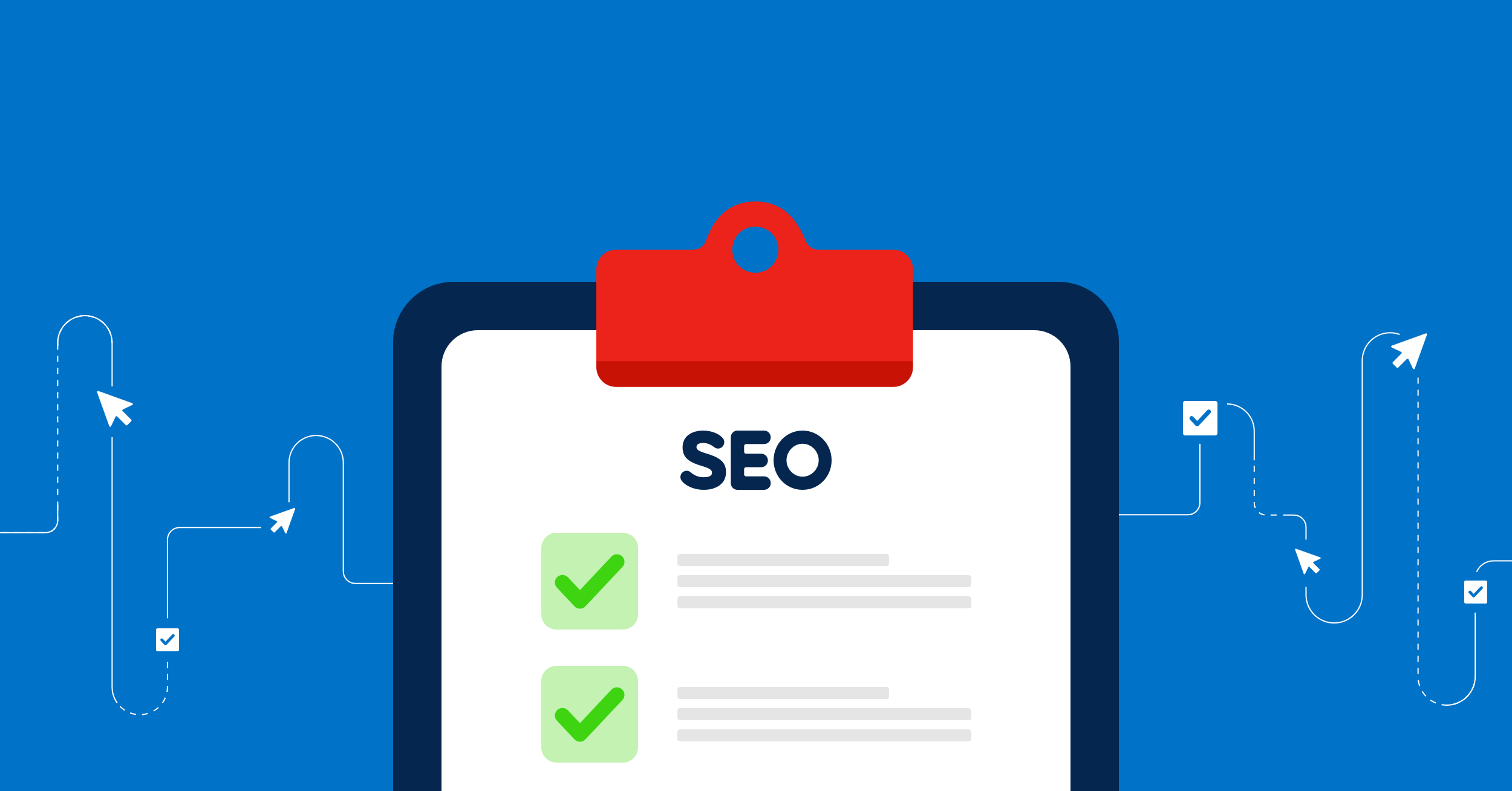 seo banner with checklist presented